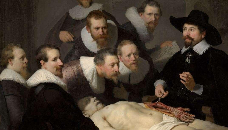Ρέμπραντ Χάρμενσοον φαν Ράιν (15 Ιουλίου 1606 - 4 Οκτωβρίου 1669). Μάθημα ανατομίας του Δρ. Τουλπ, 1632. Χάγη, Mauritshuis.