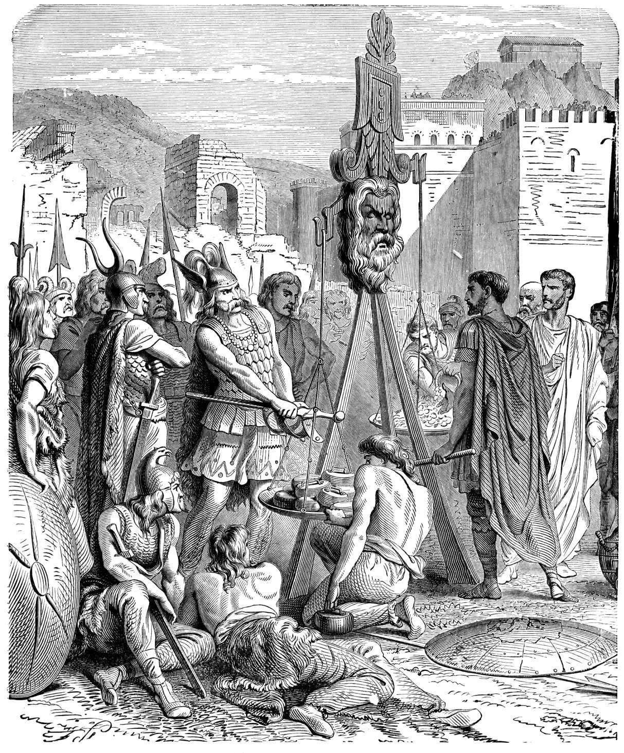 Όταν ο Ρωμαίος στρατηγός και πολιτικός Κάμιλλος Μάρκος Φούριος (Μarcus Furius Camillus) αντιτάχθηκε στον υπολογισμό τους βάρους του χρυσού ο Βρέννος αρχηγός των Γαλατών έρριξε το ξίφος τους στην μεριά του δίσκου της ζυγαριάς προσθέτοντας επιπρόσθετο βάρος και λέγοντα τη φράση «Vae victis» Ουαί τοις ηττημένοις