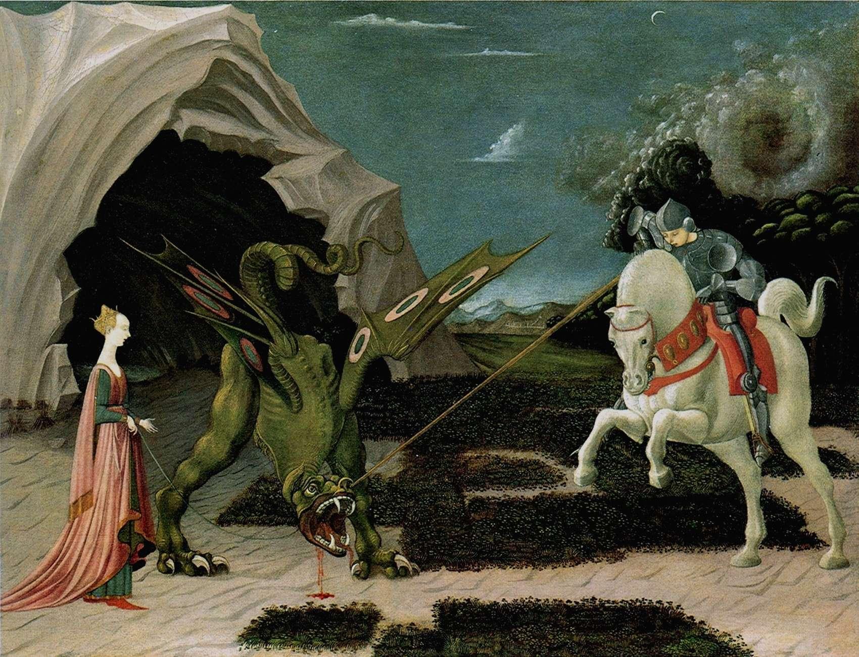 Πάολο Ουτσέλλο (Paolo Uccello, 15 Ιουνίου 1397 - 10 Δεκεμβρίου 1475). Ο Άγιος Γεώργιος σκοτώνει τον Δράκοντα, Εθνική Πινακοθήκη Λονδίνου.