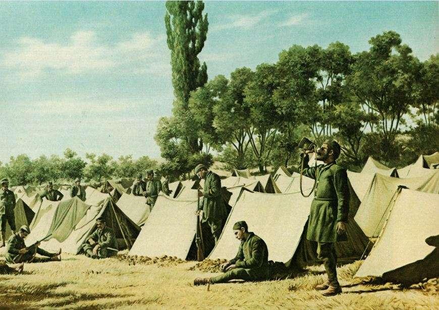 Καταυλισμός Ευζώνων στη Μικρά Ασία την άνοιξη του 1921. Εθνικό Ιστορικό Μουσείο. Αθήνα.
