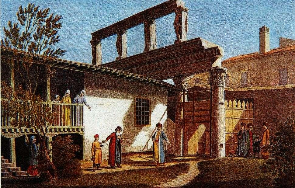 Παλιά γαλλική γκραβούρα του 1812 που παριστάνει ερείπια ρωμαϊκής στοάς που υπήρχε στην Θεσσαλονίκη, βόρεια της Εγνατίας