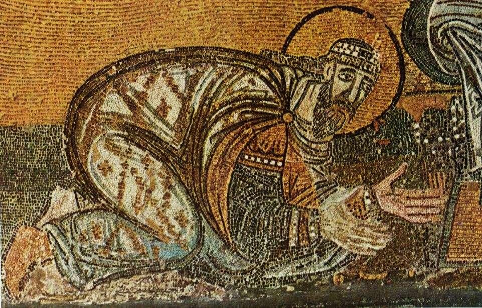 Ο αυτοκράτορας Λέων ΣΤ' γονυπετής ενώ δέχεται το χρίσμα της «θείας σοφίας». Ψηφιδωτή παράσταση από τον νάρθηκα της Αγίας Σοφίας στην Κωνσταντινούπολη (λεπτομέρεια). 9ος αιώνας.