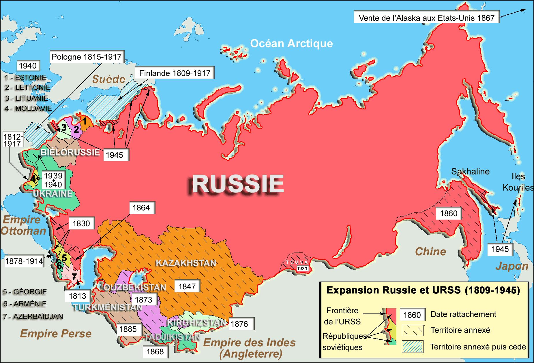 Χάρτης της Ρωσία και της μετέπειτα ΕΣΣΔ. Carte de l'expansion de la Russie et de l'URSS de 1812 à 1945.