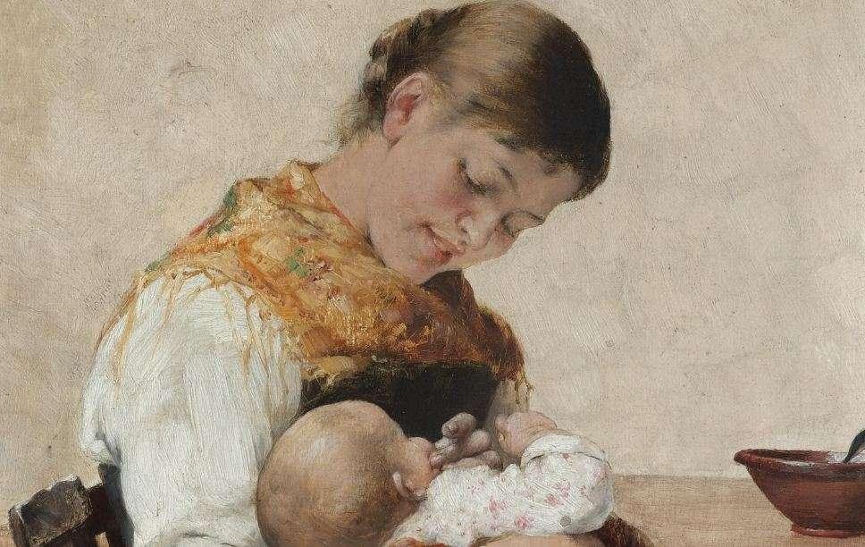 Γεώργιος Ιακωβίδης. (1853-1932) «Μητρική στοργή», Αθήνα, Εθνική Πινακοθήκη.