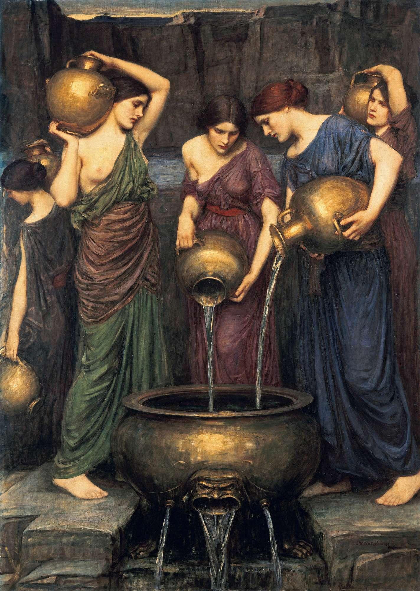Σύμφωνα με μία παράδοση, οι κόρες του Δαναού, οι Δαναΐδες, καταδικάστηκαν μετά τον θάνατό τους και την κάθοδό τους στον Άδη να μεταφέρουν και να ρίχνουν αιώνια νερό σε ένα πιθάρι με τρύπες («τετρημένον πίθον») για να τιμωρηθούν δήθεν για τη δολοφονία των συζύγων τους την πρώτη νύχτα του γάμου. John William Waterhouse - The Danaides (1904)