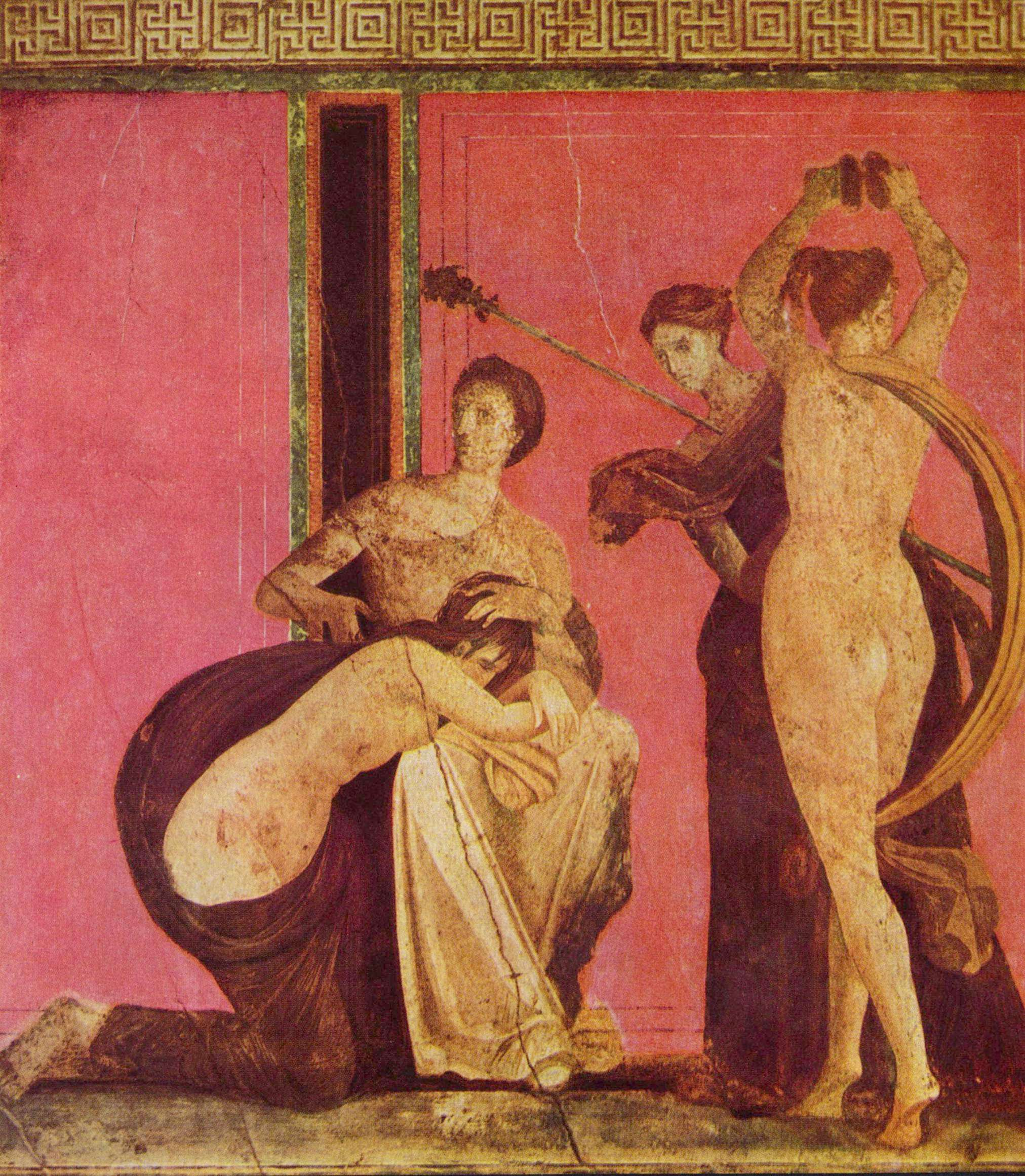 Τοιχογραφία από τη Βίλλα των Μυστηρίων. Από τα αρχαιολογικά ευρήματα της Πομπηίας, 80 μ.Χ.