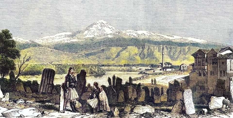 Η Όσσα -στο βάθος- είναι βουνό της Θεσσαλίας, γνωστό επίσης με το όνομα Κίσσαβος. (1851)