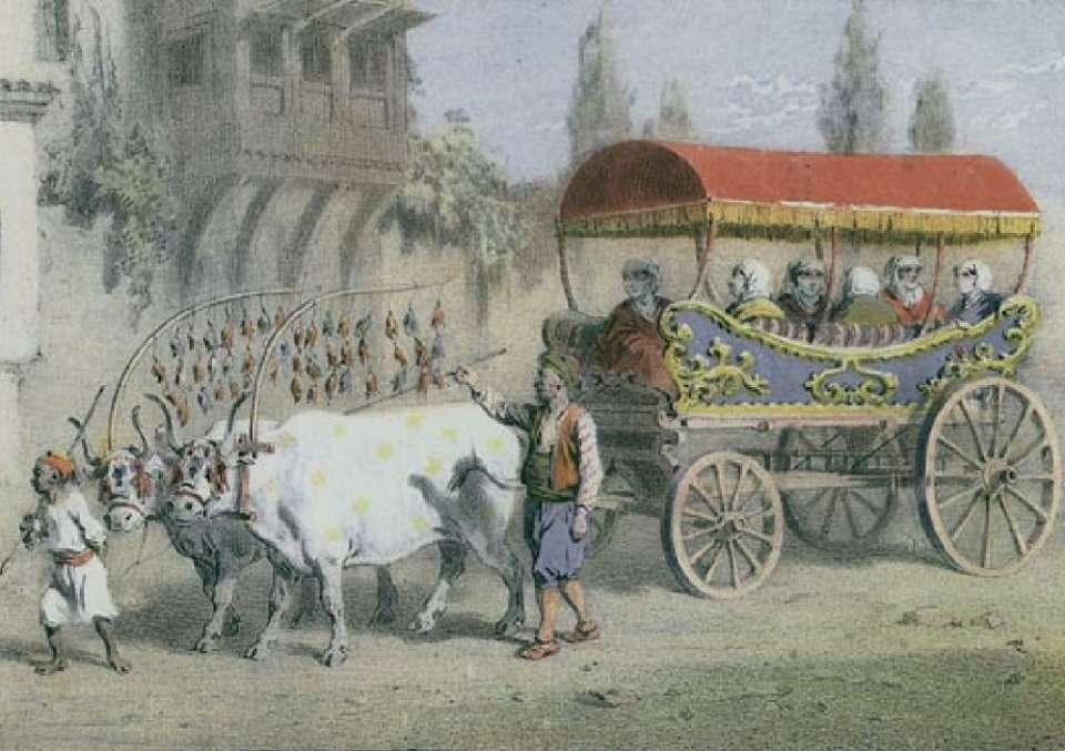 Γυναίκες της Κωνσταντινούπολης σε άμαξα που τη σέρνουν βόδια (1850)