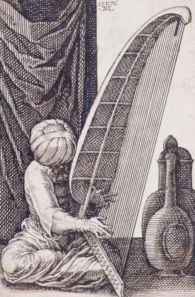 Μουσικός παίζει ένα είδος άρπας. (1550)