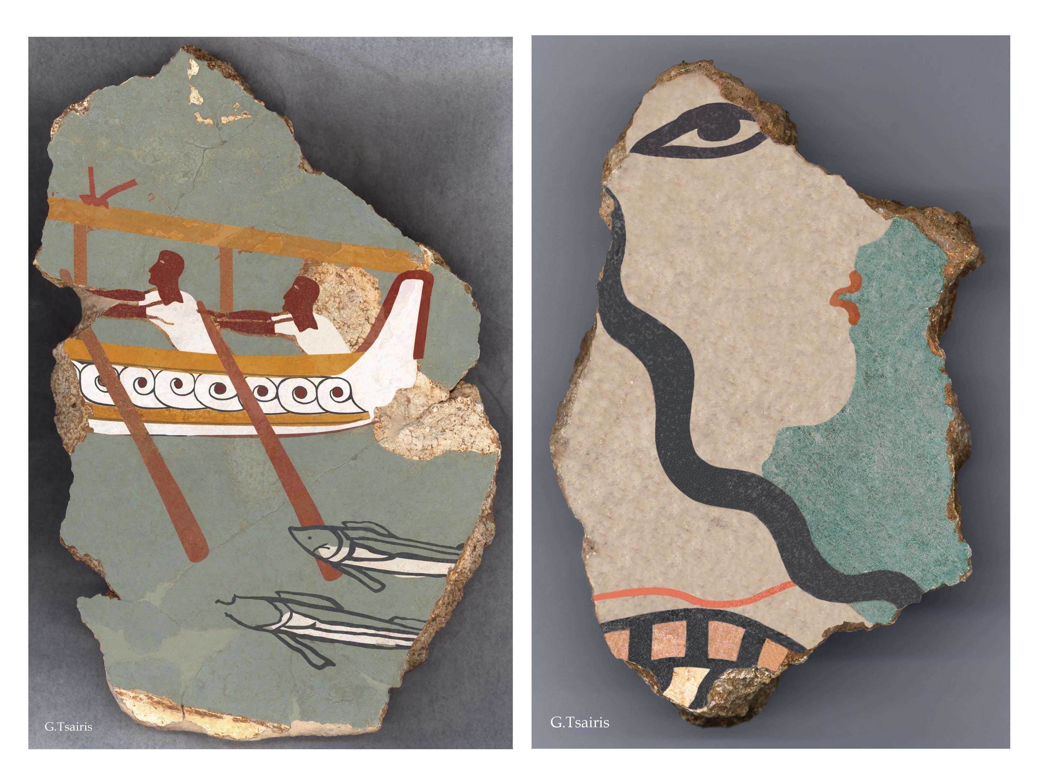 Περισσότερα από 2.000 σπαράγματα τοιχογραφιών βρέθηκαν στα δωμάτια του ανακτορικού συγκροτήματος, που φαίνεται ότι είχε πλούσια εικονογραφική διακόσμηση.