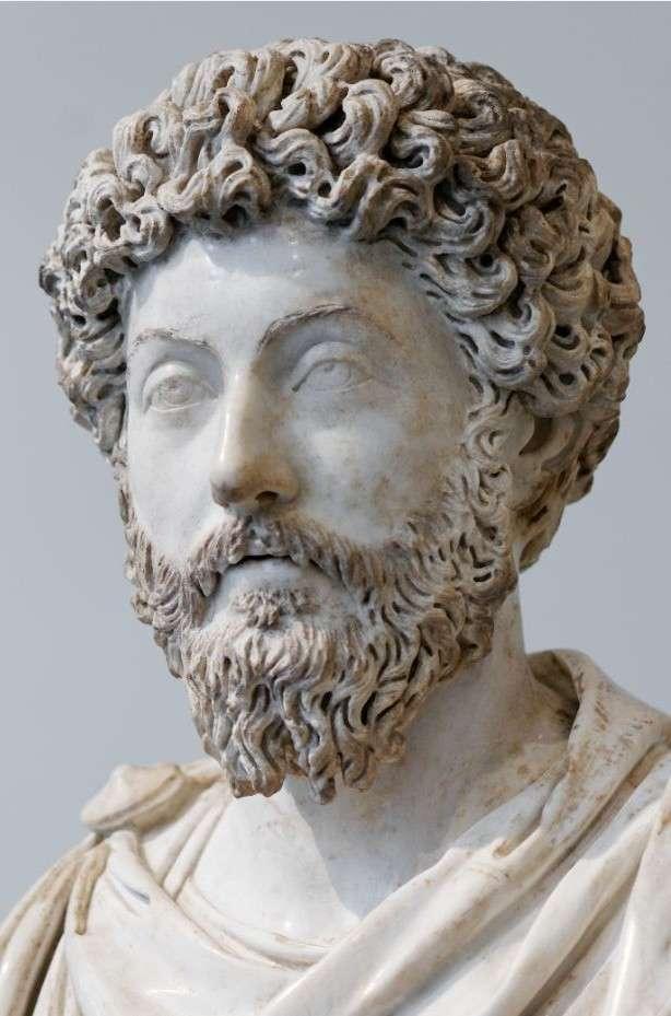 Ο Μάρκος Αυρήλιος. Portrait of Emperor Marcus Aurelius (type III). Roman artwork of the Antonine period. Discovered at Acqua Traversa, near Rome, 1674.