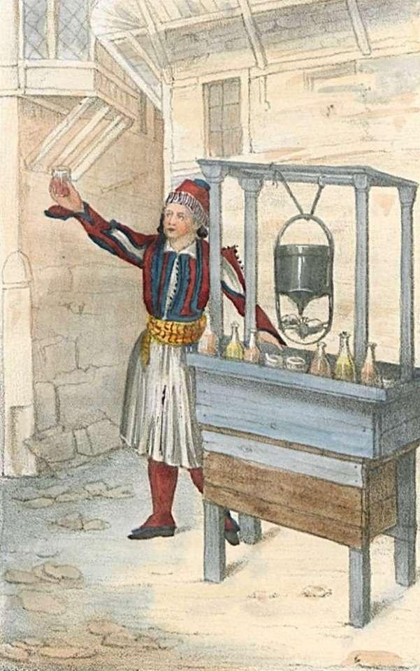 Άνδρας πουλάει στο δρόμο σερμπέτι, ένα είδος πολύ γλυκού και αρωματικού αναψυκτικού. (1838)