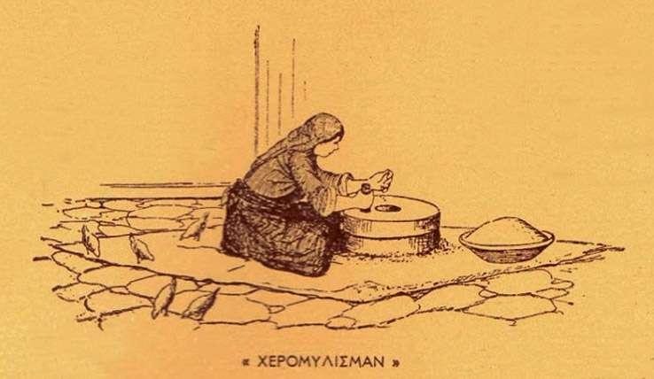 Χειρομύλισμα. Αλώνισμα. Χρήστου Γ. Δημάρχου, Ο ελληνικός Πόντος – Μορφές και εικόνες ζωής, Αθήνα 1947