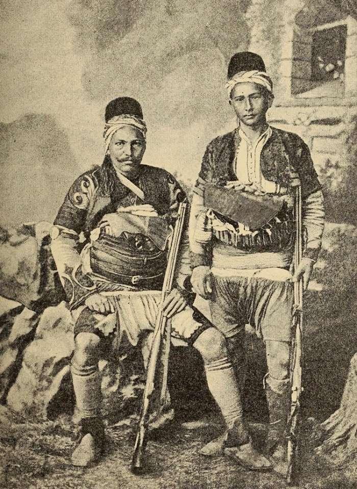 Έλληνες νησιώτες του Αιγαίου με φορεσιά ζεϊμπέκηδων. (1888)