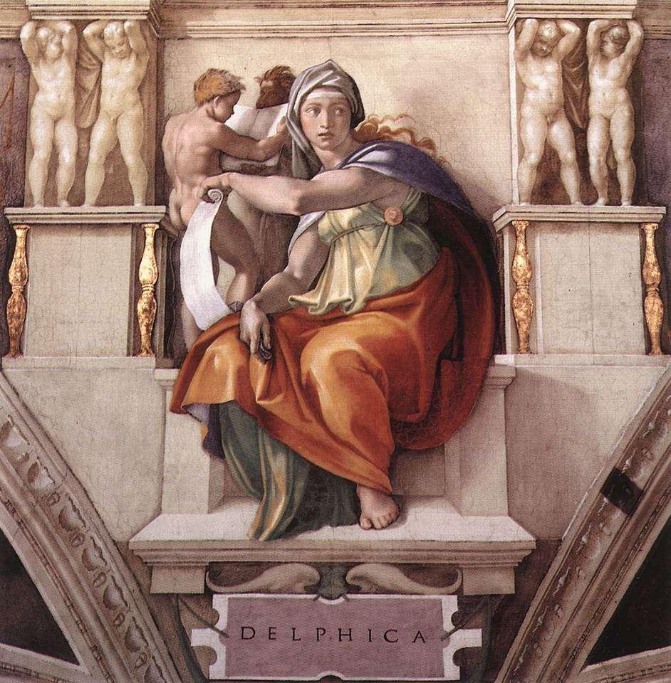 Μιχαήλ Άγγελος. Δελφική Σίβυλλα στην οροφή της Καππέλλα Σιστίνα.