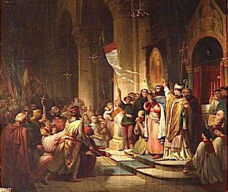 Η στέψη του Βονιφάτιου του Μομφεράτου ως αρχηγός της Δ΄ Σταυροφορίας - έργο του Henri Decaisne (1840)