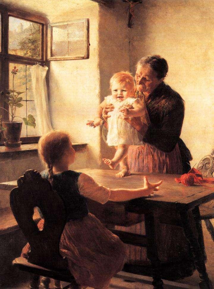 Γεώργιος Ιακωβίδης. «Τα πρώτα βήματα», 1893, Αθήνα, Εθνική Πινακοθήκη.
