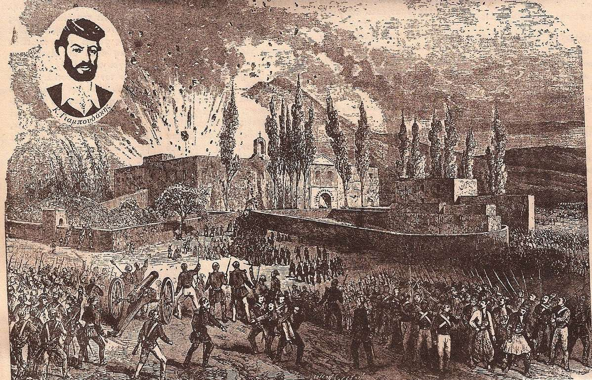 Στις 9 Νοεμβρίου, το ισχυρό πυροβόλο των Τούρκων έσπασε την μεγάλη πόρτα της μονής και, οι Οθωμανοί εισέβαλαν στην αυλή του μοναστηριού. Λίγη ώρα αργότερα, ένας νεαρός Κρητικός, ο Κ. Γιαμπουδάκης, έβαλε φωτιά σε μία πυριτιδαποθήκη, που βρισκόταν εκεί, και, από την έκρηξη, σκοτώθηκαν πολλοί από τους αντιμαχόμενους.