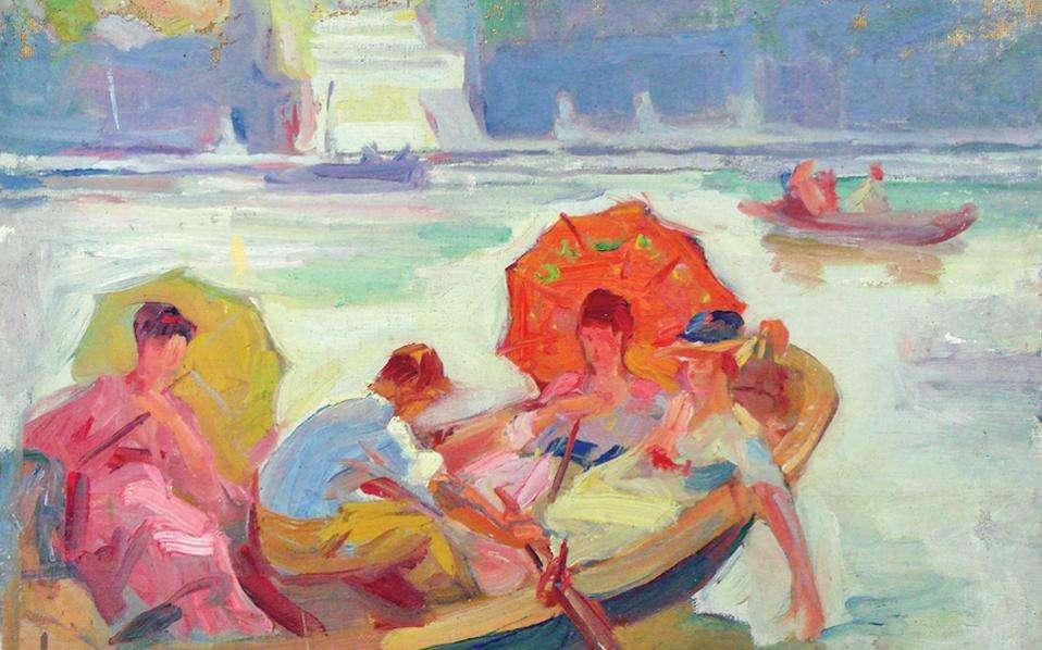 Σπύρος Παπαλουκάς (Δεσφίνα Φωκίδας, 1892 - Αθήνα, 3 Μαΐου 1957). «Bάρκες στον Σηκουάνα».
