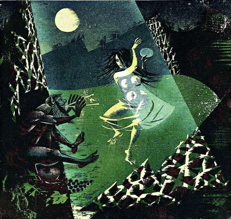 Κώστας Γραμματόπουλος. Στον Παρνασσό,1970, ξυλογραφία, 55 x 55 εκ., Ιδιωτική Συλλογή.