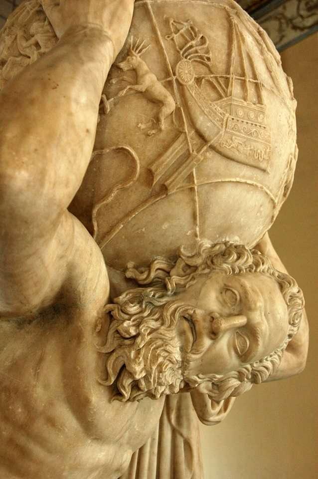 Ο τιτάνας Άτλας κρατάει ολόκληρο τον κόσμο στους ώμους του. Ρωμαϊκό του 2ου αιώνα μ.Χ. Αρχαιολογικό Μουσείο. Νάπολη