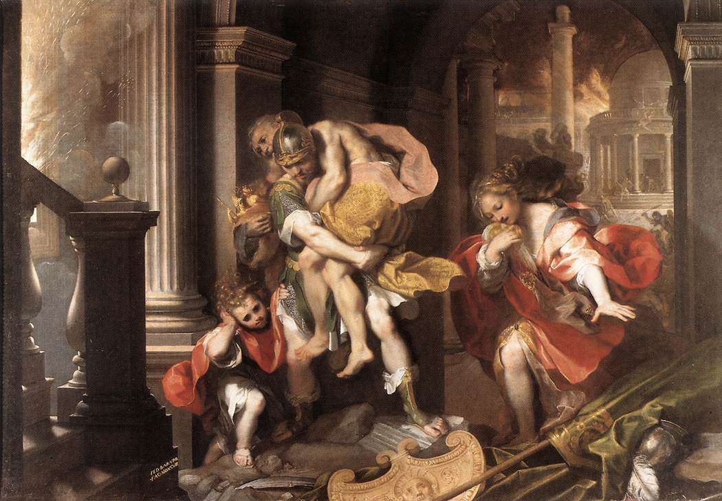 Ο Αινείας φεύγει από τη φλεγόμενη Τροία. Ζωγραφικός πίνακας του Federico Barocci, 1598.