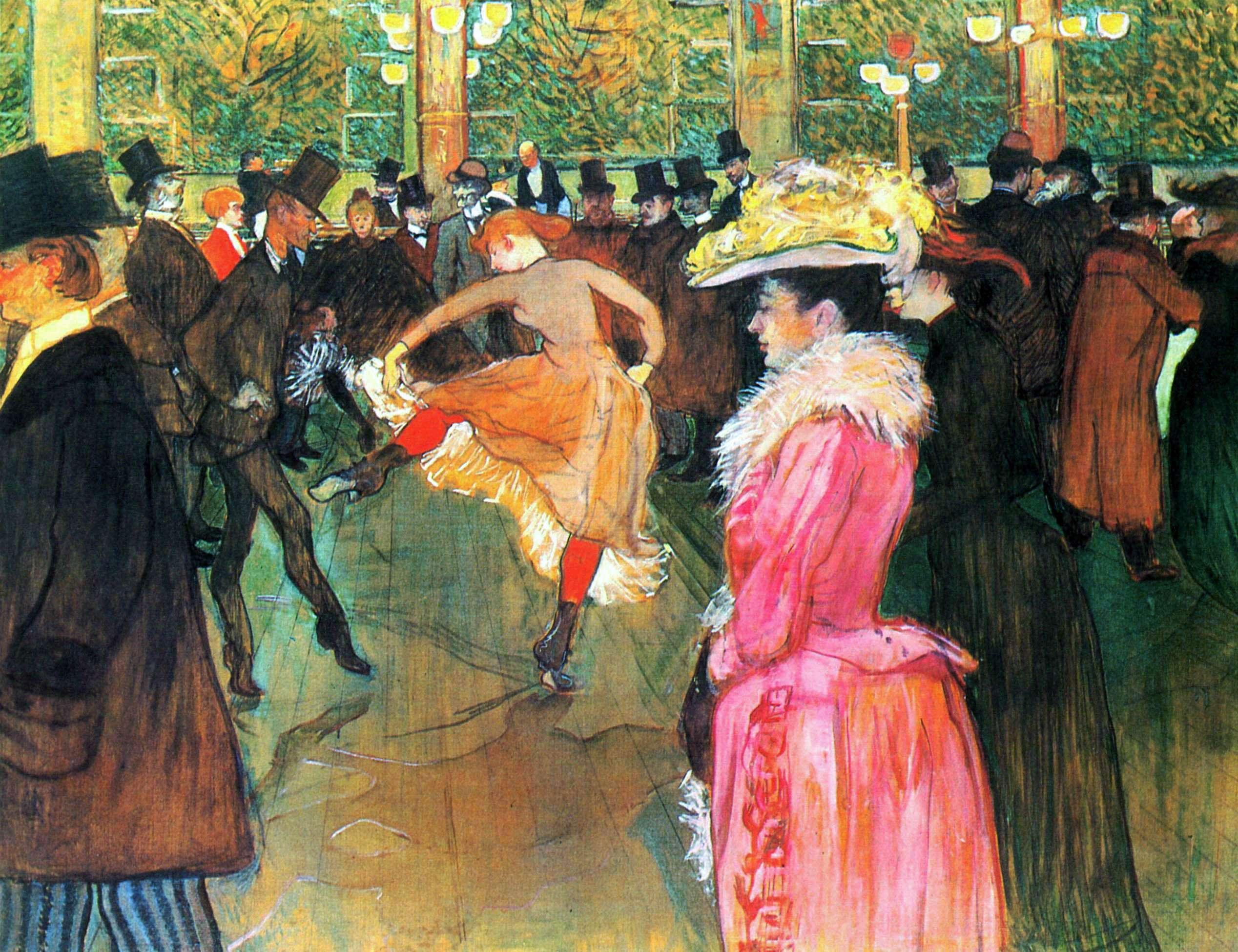 Ανρί ντε Τουλούζ-Λωτρέκ (Henri Marie Raymond de Toulouse-Lautrec-Monfa, 24 Νοεμβρίου 1864 - 9 Σεπτεμβρίου 1901). Χορός στο Moulin Rouge, 1890, Φιλαδέλφεια, Museum of Art.