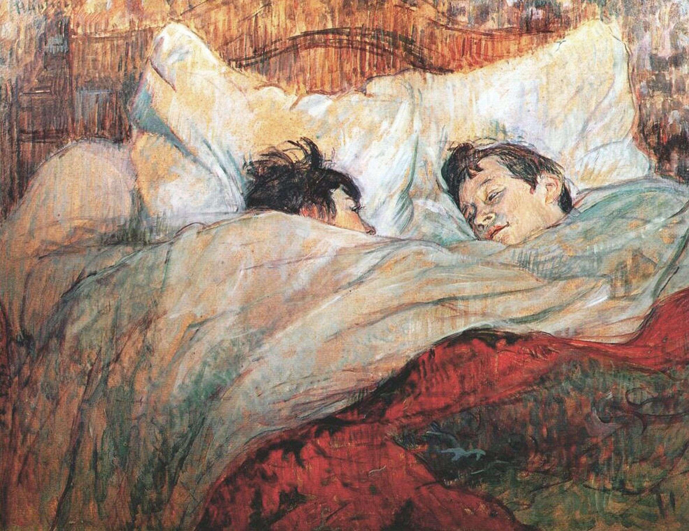 Ανρί ντε Τουλούζ-Λωτρέκ (Henri Marie Raymond de Toulouse-Lautrec-Monfa, 24 Νοεμβρίου 1864 - 9 Σεπτεμβρίου 1901). «Στο κρεβάτι», 1893, Παρίσι, Μουσείο Ορσέ.