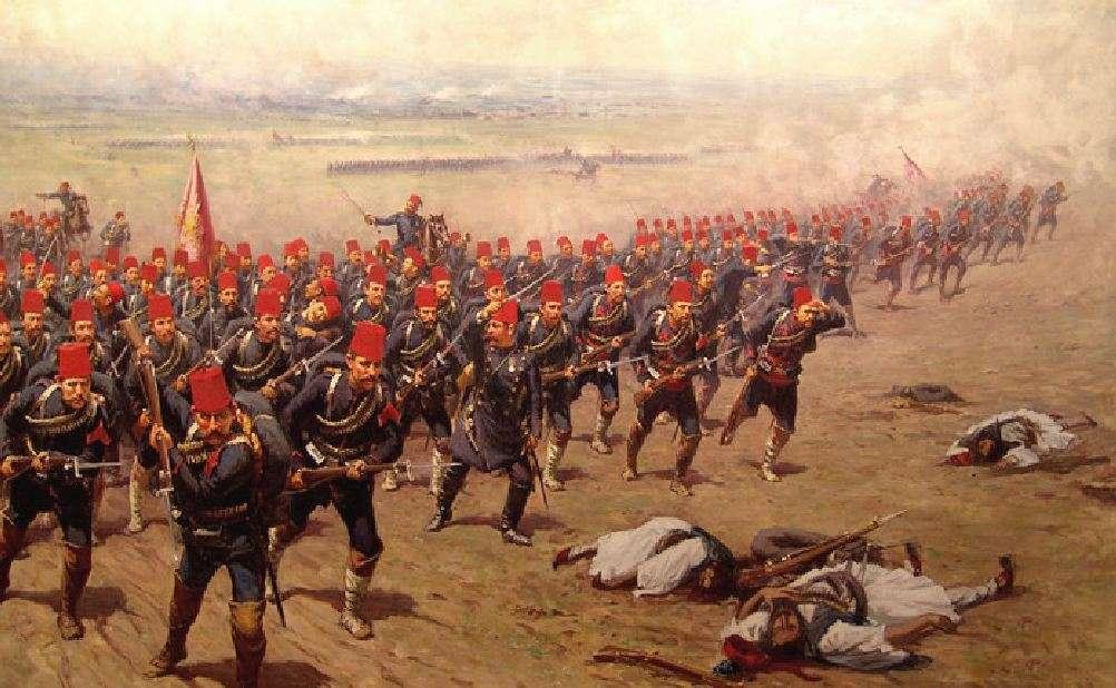 Οθωμανικό πεζικό επιτίθεται κατά τη Μάχη του Δομοκού. Πίνακας του Φάουστο Ζονάρο, ανάκτορο του Ντολμάμπαχτσε.