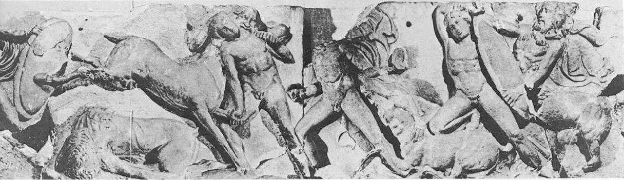 Ναός του Απόλλωνος Επικουρίου Βασσών Φιγαλείας. Είκοσι τρεις πλάκες της ζωφόρου βρίσκονται σήμερα στο Βρεττανικό Μουσείο.