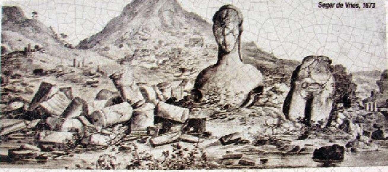 Σε μια βάση 32 τόνων υψωνόταν το μεγαλοπρεπές άγαλμα του Απόλλωνα στη Δήλο, το οποίο ήταν ορατό από τη θάλασσα. Σχέδιο του Seger de Vries το 1673 με τα ερείπια του κολοσσού...