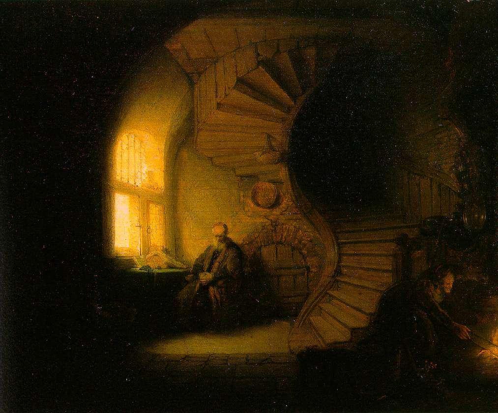 Ρέμπραντ Χάρμενσοον φαν Ράιν. Φιλόσοφος σε διαλογισμό.