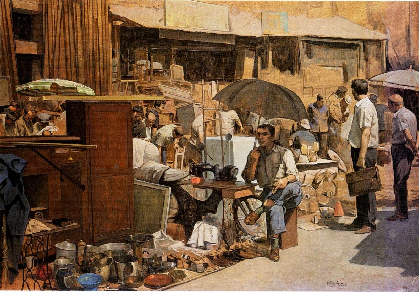 Κώστας Μαλάμος. (1913 – 2007). «Κυριακή στο Μοναστηράκι.»