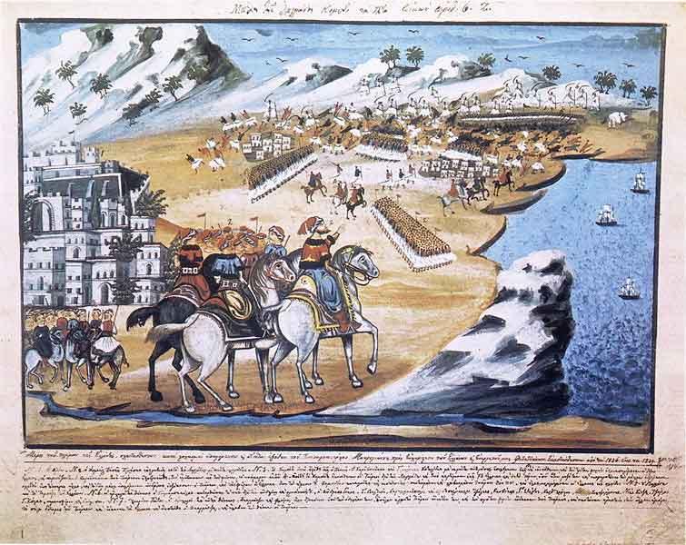 Απεικόνιση της μάχης του Πέτα δια χειρός Παν. Ζωγράφου.