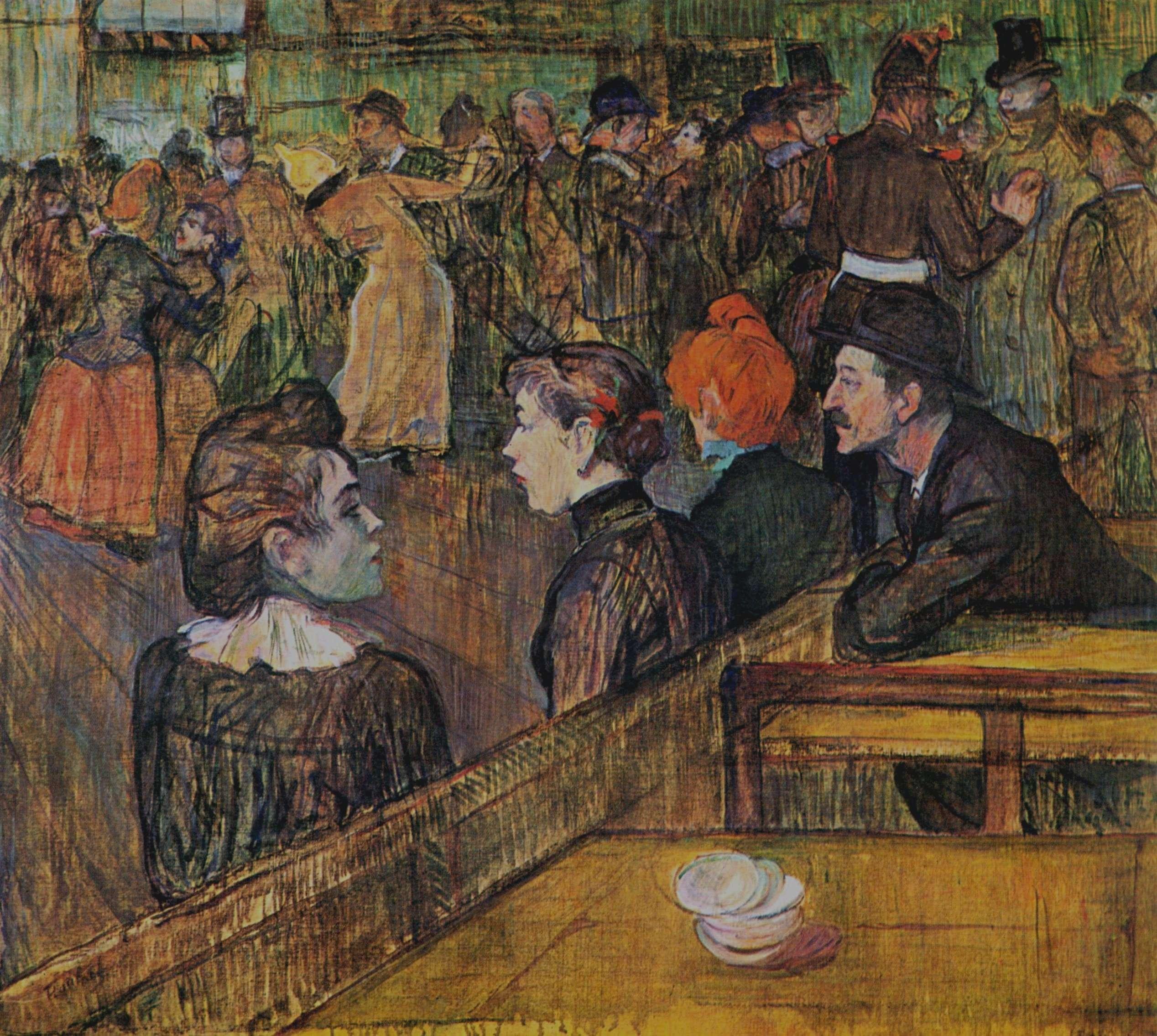 Ανρί ντε Τουλούζ-Λωτρέκ (Henri Marie Raymond de Toulouse-Lautrec-Monfa, 24 Νοεμβρίου 1864 - 9 Σεπτεμβρίου 1901). Χορός στο Moulin de la Galette, 1889, Σικάγο, Art Institute.