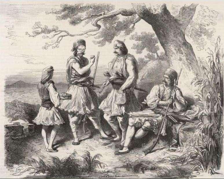 Ψυχογιός (αριστερά) εν ώρα εργασίας σε απεικόνιση της εποχής του 1821.