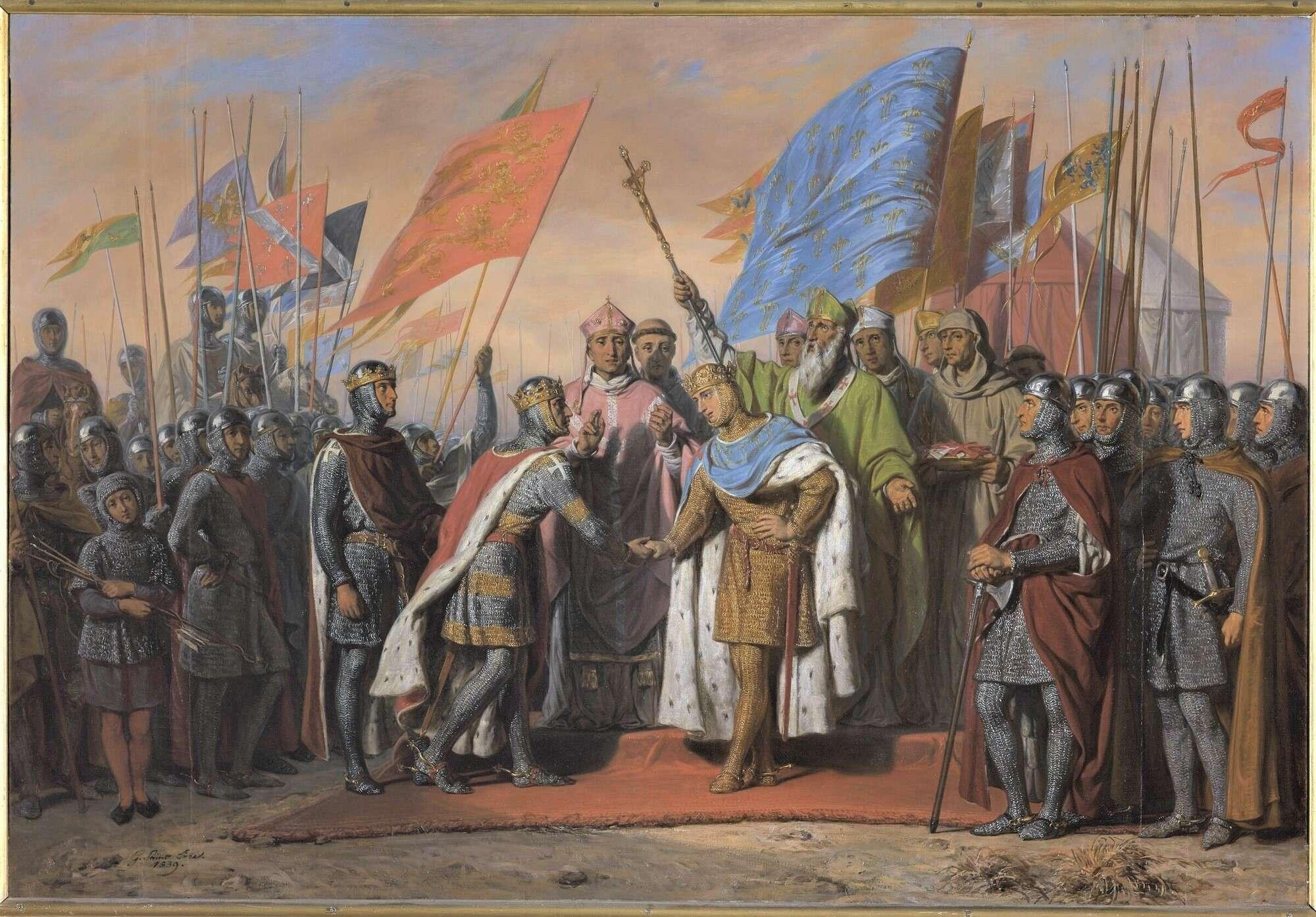 Σταυροφόροι· κάτω αριστερά διακρίνεται ένα μικρό παιδί με πανοπλία. Quelques portraits des Salles des Croisades du Château de Versailles.