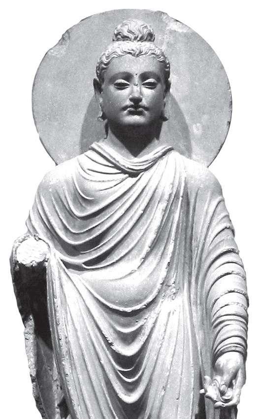 Άγαλμα του Βούδα, ελληνο-βουδιστικής τεχνοτροπίας, από το Βασίλειο της Ghandara, στο σημερινό Πακιστάν (1ος-2ος αι. μ.Χ.).
