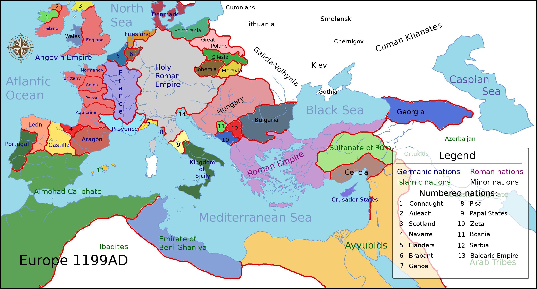 Χάρτης των ευρωπαϊκών βασιλείων όπως αυτά είχαν διαμορφωθεί το 1199 μ.Χ., έτος θανάτου του Ριχάρδου Α΄ της Αγγλίας. Τα χρώματα των γραμμάτων υποδηλώνουν την πολιτιστική καταγωγή των ηγεμόνων τους.