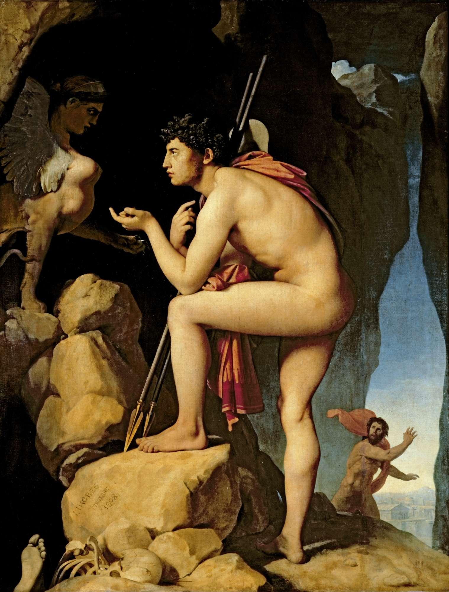 Ζαν Ωγκύστ Ντομινίκ Ενγκρ (Jean-Auguste-Dominique Ingres, 29 Αυγούστου 1780 - 14 Ιανουαρίου 1867). Ο Οιδίπους λύνει το αίνιγμα της Σφίγγας.