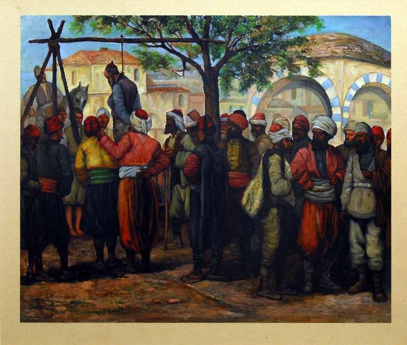 Απαγχονισμός των Ελλήνων προκρίτων της Θεσσαλονίκης στο Καπάνι (1821), Ίδρυμα Μουσείου Μακεδονικού Αγώνα (imma.edu.gr)