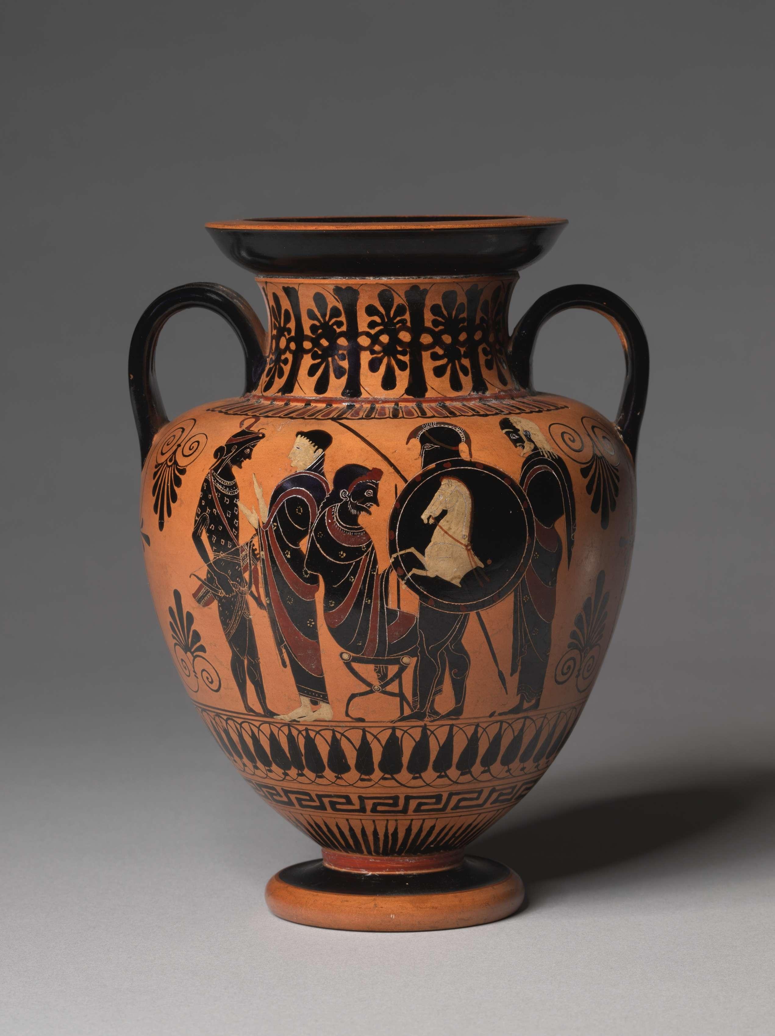Διόνυσος και Σάτυροι. Black-Figure Neck-Amphora (Storage Vessel): Departing Warriors (A); Dionysos and Satyrs (B) c. 520-510 BC. Μουσείο Τέχνης του Κλίβελαντ.