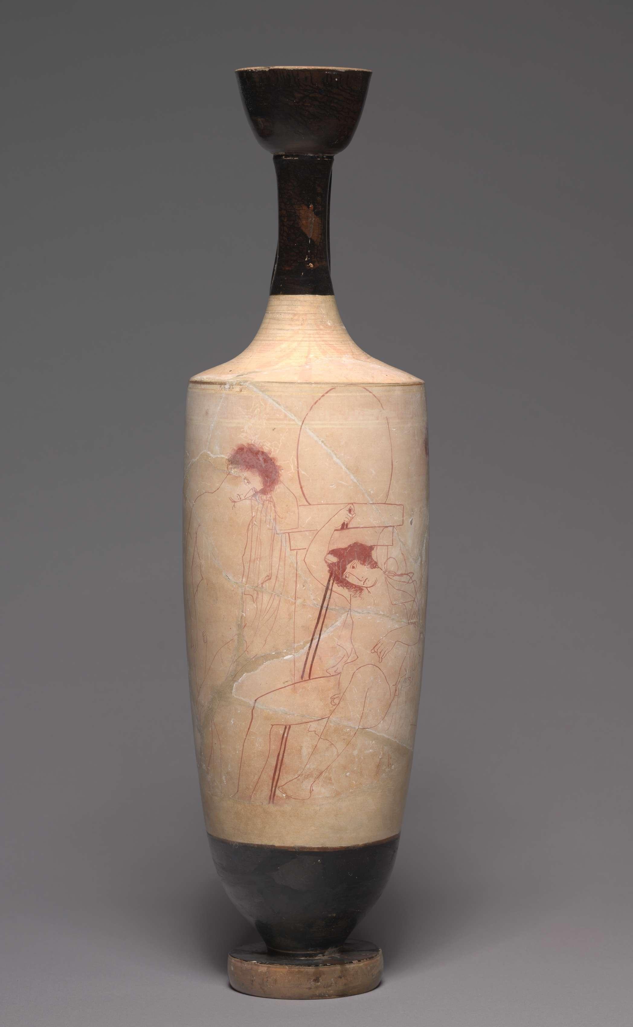 Λευκή λήκυθος. White-Ground Lekythos (Oil Vessel): Youths at Tomb. c. 420 BC. Μουσείο Τέχνης του Κλίβελαντ.