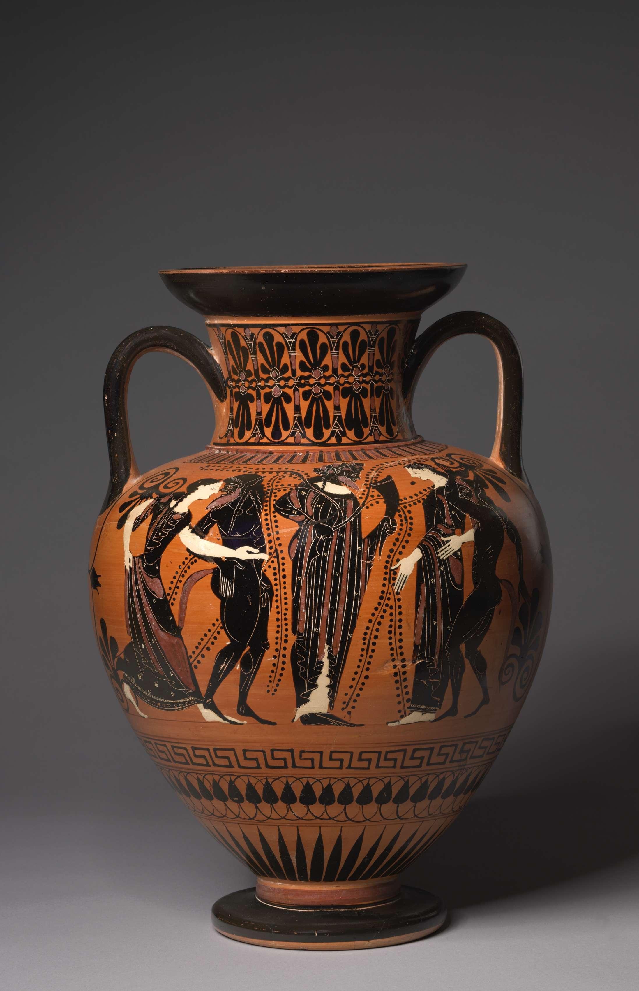 Ο Ηρακλής και το λιοντάρι της Νεμέας. Αμφορέας. Black-Figure Neck-Amphora (Storage Vessel): Herakles and Nemean Lion (A); Dionysos, Satyrs, and Maenads (B) 515-510 BC.