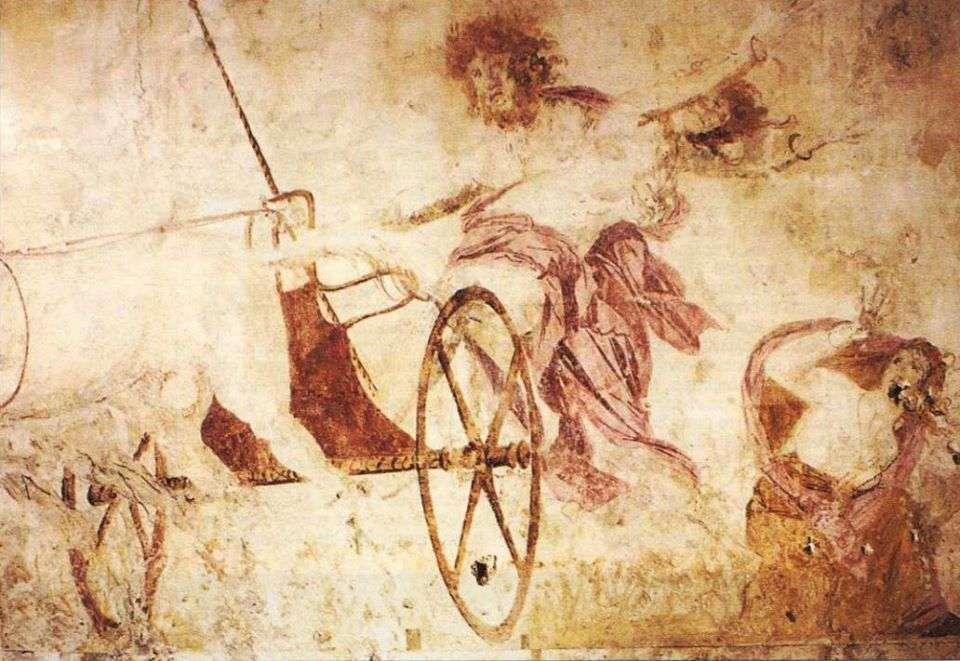 Η αρπαγή της Περσεφόνης, τοιχογραφία εσωτερικού στον «τάφο της Περσεφόνης» στην Βεργίνα, 4ος π.Χ. αιώνας.