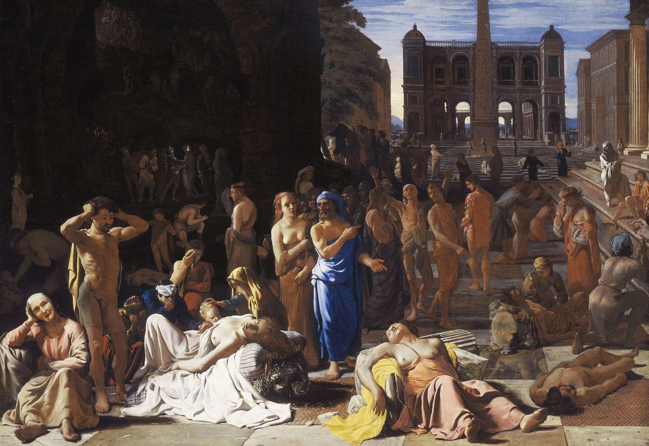 Λοιμός σε αρχαία πόλη, πίνακας του 17ου αιώνα του Μίχιελ Σβέιρτς, ο οποίος θεωρείται πως αναφέρεται στο λοιμό των Αθηνών.