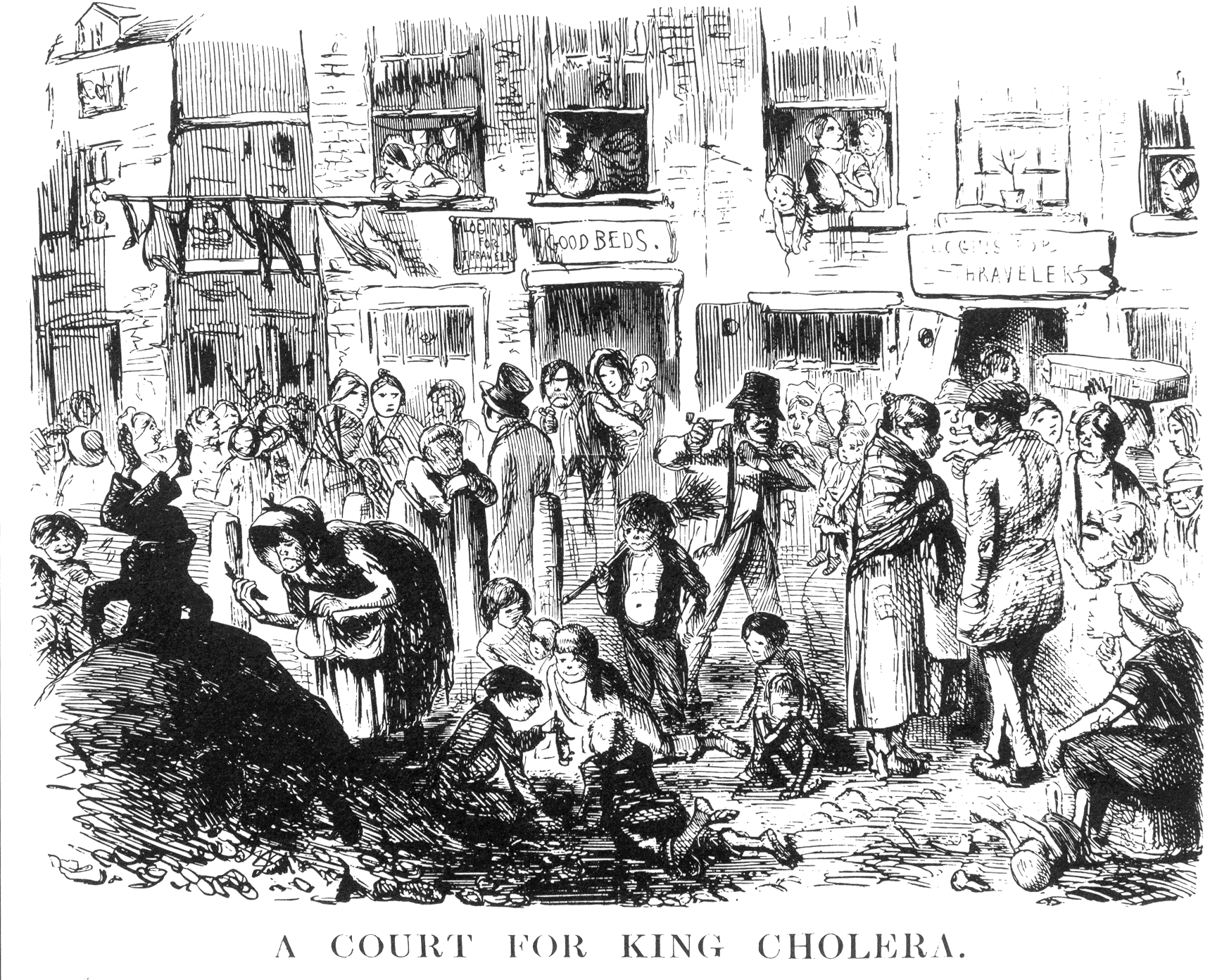 Χολέρα. A Court for King Cholera. Illustration from Punch (1852).