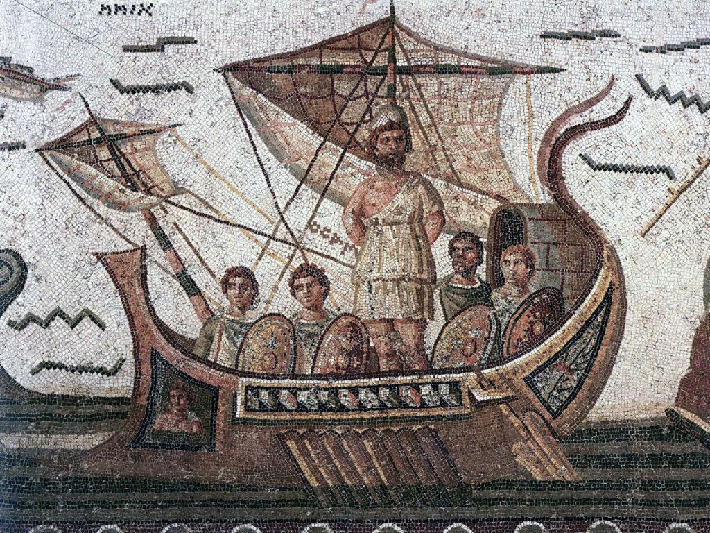 Ο Οδυσσέας και οι Σειρήνες, ρωμαϊκό ψηφιδωτό. Bardo Museum, Tunis, Tunisia. Βλ. maudandoscar.org.