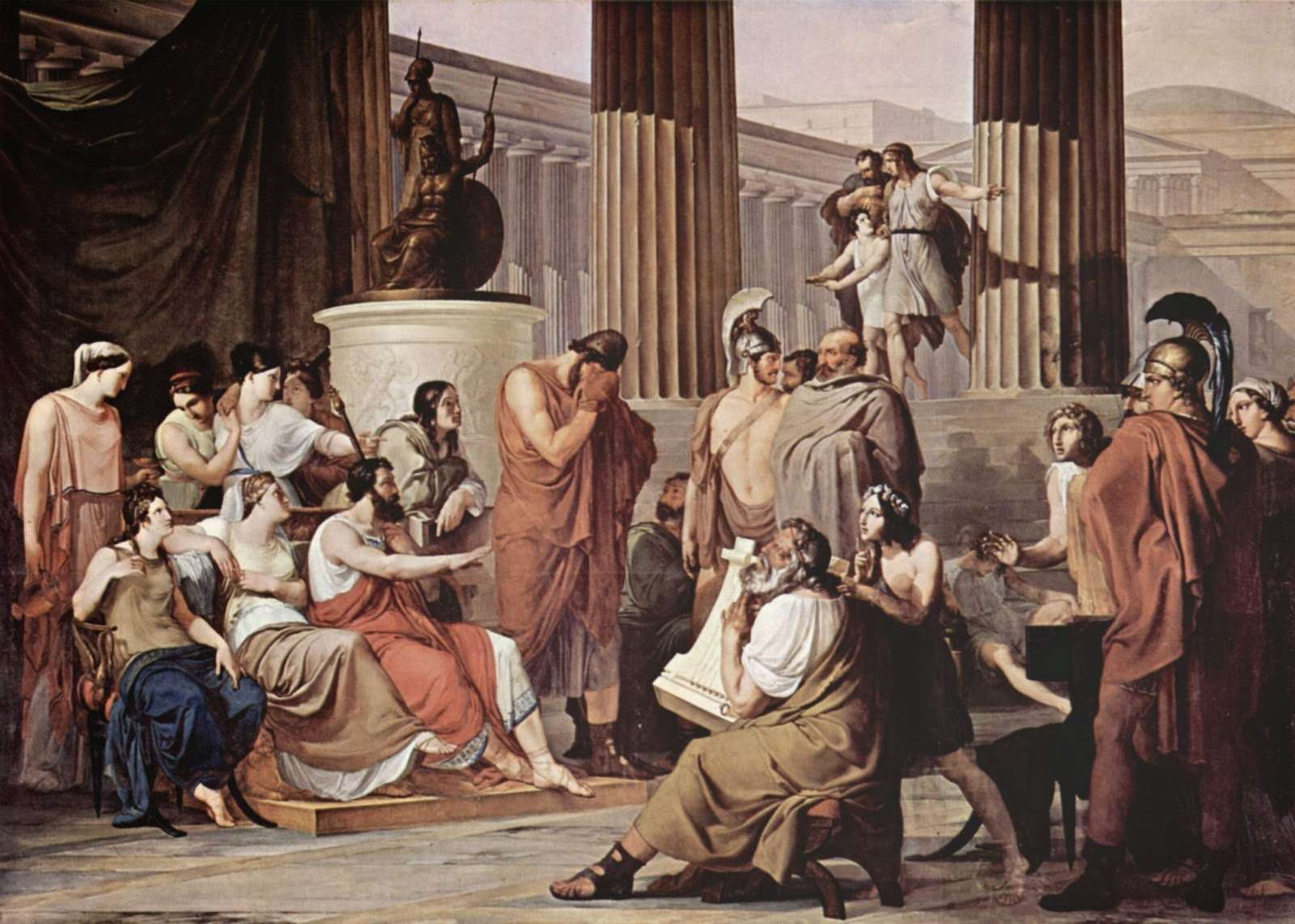 Αλκίνοος και Αρήτη οργανώνουν γιορτή φιλοξενίας στον ναυαγό Οδυσσέα. Ο βασιλιάς της Ιθάκης σκεπάζει τα δάκρυα που του προκαλεί το συγκινητικό τραγούδι του Δημόδοκου (δεξιά με τη λύρα). Francesco Hayez, 1814 -15. Μουσείο Νάπολης. Ιταλία.
