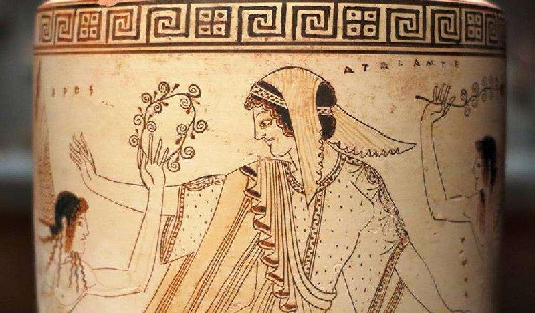 Η Αταλάντη τρέχει μακριά από τον Έρωτα. Λήκυθος της Αταλάντης, που αποδίδεται στον Δουρή (Αττική, περίπου 500-490 π.Χ.), Μουσείο Τέχνης του Cleveland